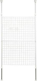 [山善] 突っ張り パーテーション 幅90cm メッシュ 高さ調節(166.5-295.5cm) フック付 アジャスター 壁面 賃貸 収納 組立品 ホワイト SP-90(W)
