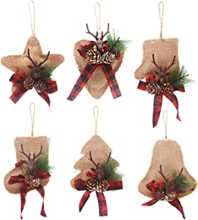 Kyatti 6ct Rustic Christmas Tree Ornaments Natural Burlap Country Xmas Hanging Decorations Stocking Glove Tree Bell Star Heart with Deer Head Pine Cones Black-Red Plaid Ribbon for Holiday Party Decor