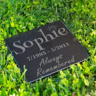 Lara Laser Works Personalized Dog Memorial Customized Dog Grave Marker Custom Headstone - DSG#9 - Aged Granite
