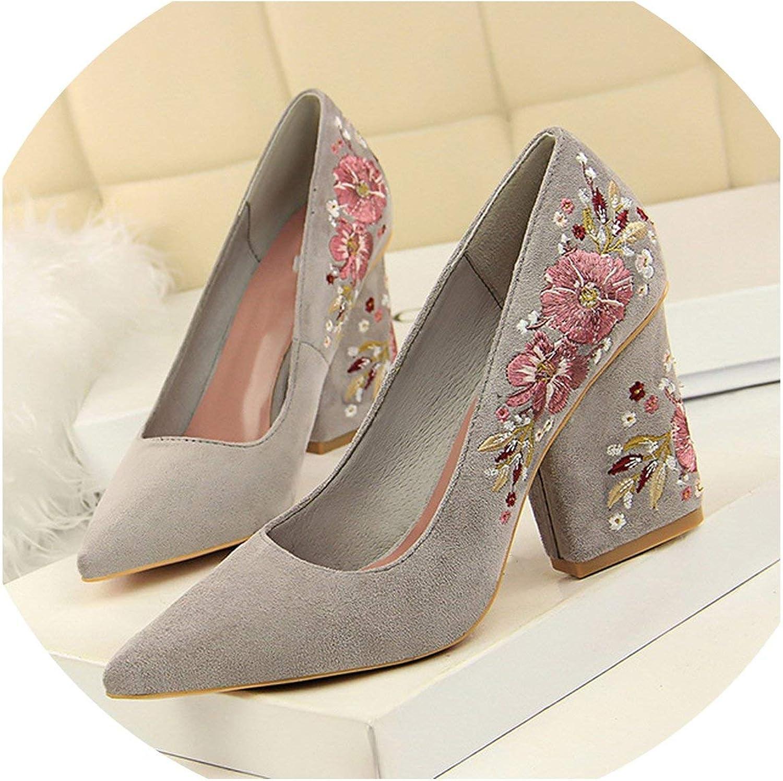 Flower Embroidery Women High Heel shoes Women Wedding shoes Women Office shoes Stiletto
