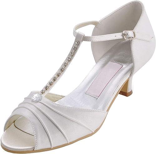 ZHRUI GYMZ689 mujeres T-Correa Satén Fiesta de Noche Baile Nupcial zapatos de Boda Bombas Sandalias Flatfs (Color   Ivory-5cm Heel, tamaño   6.5 UK)