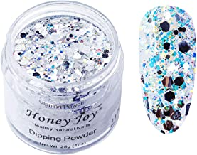 28g/Box Shine Silver Glitter Hexagon Sequins Paillette Dip Powder Nails Dipping Nails Long-lasting Nails No UV Light Needed, (No.122)