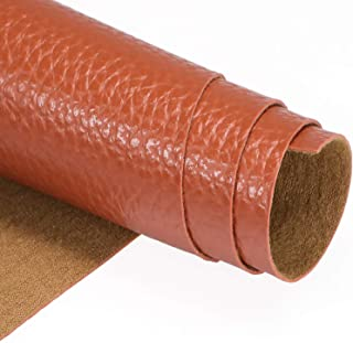 TORRAMI Faux Leather Fabric Tan 2 Yards,Soft Upholstery hide Leather PU Synthetic Litchi Pattern Material Brown fake leather For DIY (57