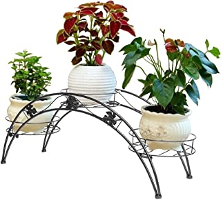 DAZONE Arch Metal Potted Plant Stand with 3 Holders Potted Plant Rack Organizer (Black)