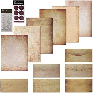 60 Sheets Vintage Stationary Paper and Envelopes Set, Double-side Writing Stationery Paper Letter Set -60 Sheets of Aged L...