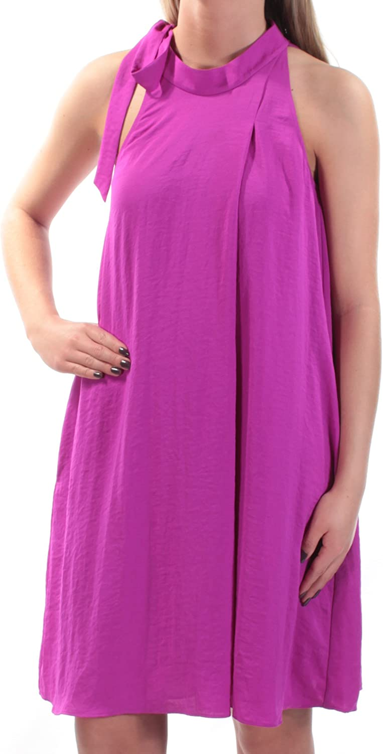 Rachel Roy Womens Purple Pocketed Sleeveless Halter Above The Knee Shift Dress US Size  M