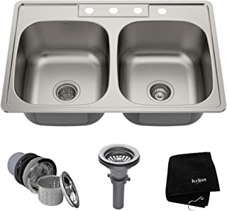 Amazon.com: Top Mounted - Double Bowl / Kitchen Sinks: Tools & Home on 42 inch commercial kitchen sink, belmont kitchen sink, 100 rectangular stainless steel kitchen sink, 42 inch apron kitchen sink, single kitchen sink, extra large kitchen sink, modern farm kitchen sink, 3 bowl kitchen sink, 32 undermount kitchen sink, double kitchen sink, 36 inch kitchen sink,