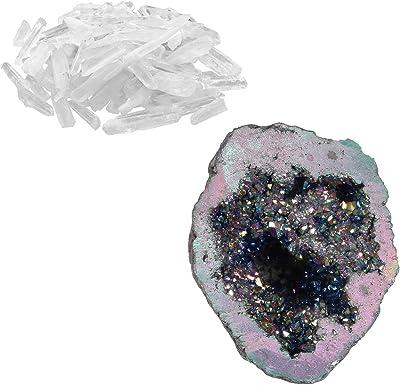 Titanio Crystal Ágata Druzy Cuarzo Geoda Piedra elástico Pulsera 7 Pulgadas x0029376