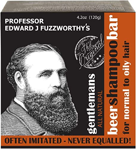 Professor Fuzzworthy's Gentlemans Beer Hair SHAMPOO Bar for Normal, Dry, Oily Hair | Unscented with All Natural Oils ...