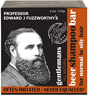 Professor Fuzzworthy's Gentlemans Beer Hair SHAMPOO Bar for Normal, Dry, Oily Hair | Unscented with All Natural Oils From ...