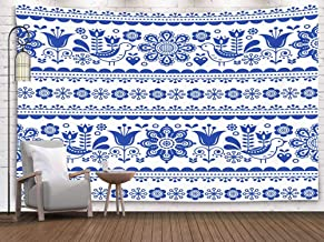 Crannel Christmas Pattern Flowers Birds Nordic Folk Art repetitive Navy Blue Ornament Retro Floral Background Tapestry 80x60 Inches Wall Art Tapestries Hanging for Dorm Room Living Home Decorative