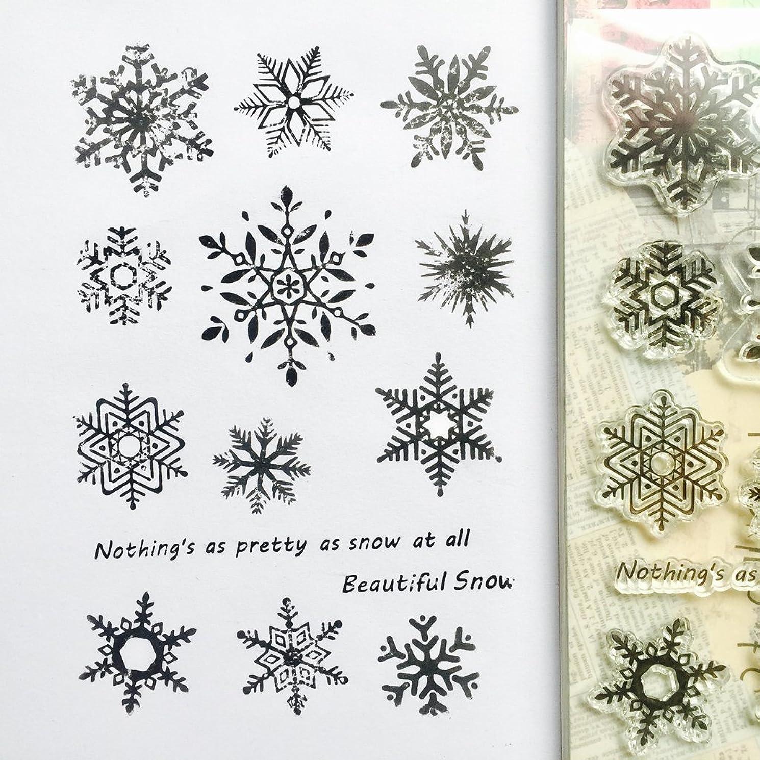 流暢ディレクター復活するBaoyouls Snowflake Patternシリコンクリアスタンプ、ラバークリアスタンプClingセットScrapbookingクラフト日記カード、DIYギフト