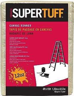 Trimaco 51208 SuperTuff 12 oz Thick Premium Weight Canvas Drop Cloth, 4 x 15-feet, 4' X 15'