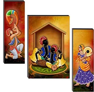 SND Art Set of 3 Musical & Dancing Modern Art Print MDF Frame Painting for Living Room Wall for Home Decoration (18 X 6 in...