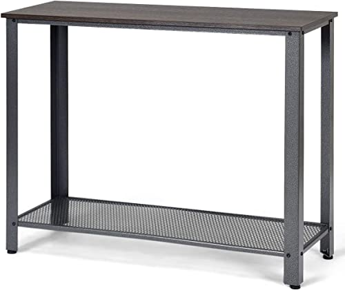 lowest Giantex lowest Console Sofa Table Wood W/Adjustable Feet and Storage Shelf, Scratch-Proof and Mental Frame Multipurpose Accent Furniture for Entryway, outlet online sale Living Room, Bedroom Sofa Side Table (Gray) sale