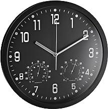 ALCO -Albert 188-11 - wandklok rond, 35 cm, zwart, met thermometer en hygrometer