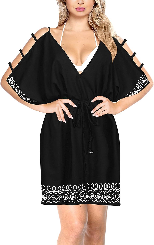 LA LEELA Bikini Swimwear Swimsuit Beach Cover-ups Women Summer Dress Embroidery