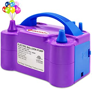IDAODAN Electric Air Balloon Pump, Portable Dual Nozzle Electric Balloon Inflator/Blower for Party Decoration - 110V 600W (Purple)
