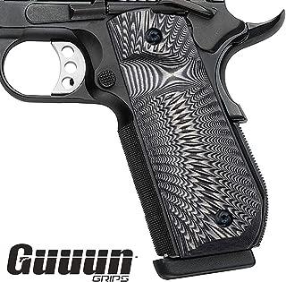 Guuun 1911 Grips G10, Full Size Government Grips, Bobtail Round Butt Cut, OPS Sunburst Texture