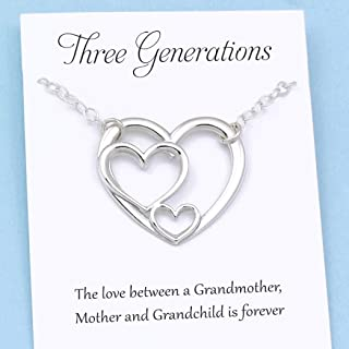 Three Generations of Love • Sterling Silver Heart Keepsake Necklace • Grandmother, Mother, Daughter/Son Jewelry • Gift for Mom Grandma Grandchild