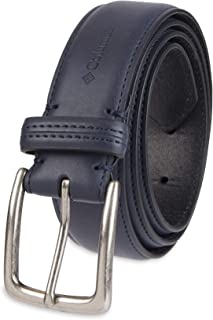 Columbia Men's Casual Leather Belt -Trinity Style for Jeans Khakis Dress Leather Strap Silver Prong Buckle Belt, navy