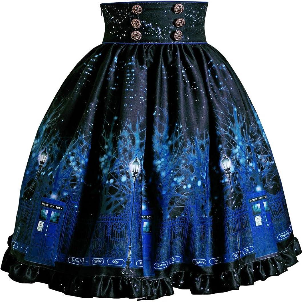 Vintage High Waisted Skirt Floral Skirt Midi Skirt Cyber Gothic Police Box Print Skirt