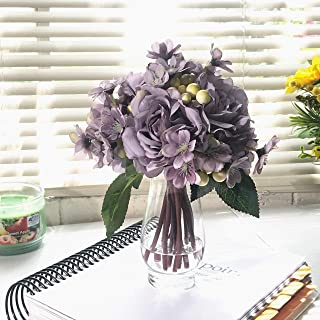 Enova Home Purple Silk Rose and Mixed Flower Arrangements in Clear Glass Vase with Faux Water Handmade