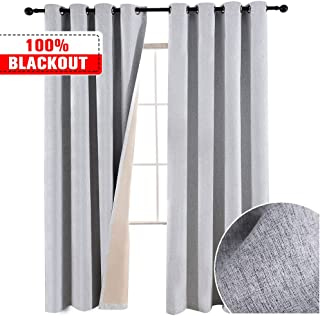 GRALI Total Blackout Curtains with Nanometer Bonded Linen Fabric, Waterproof/Dusty Proof Thermal Insulated Curtains for Office/Bedroom,52 x 84, Set of 2, Grey