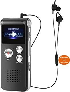 Digital Voice Recorder USB Flash Portable Professional Voice Activated Recorder Pen Support 650Hrs Dictaphone LCD MP3 Player with Speaker (8GB Black)