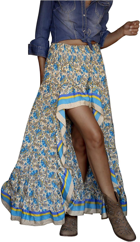 NAries Women's Summer Bohemian Floral Summer Dresses High Low Side Split Ruffle Hem Swing Maxi Long Skirt