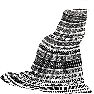 SCOCICI Comfortable Printing Blanket and Washing Machine Washable,Striped,Trippy Mystic Aztec Culture Figure Antique Aged Folk Old Bohemian Print Decorative,White Charcoal Grey,59.06
