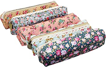 A pack of 5pcs Style YABO027 Assorted Retro Flower Floral Lace Canvas Pen Holder Case Bags Pencil Pouch Cosmetic Makeup Zipper Bags