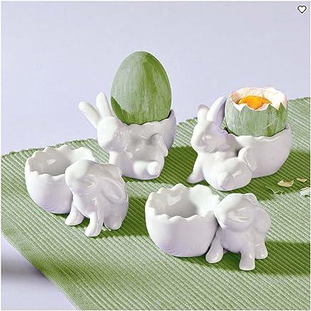 Preisvergleich für BELACONA 4 x Eierbecher Hase Eier Becher aus Porzellan weiss Ostern Hasen