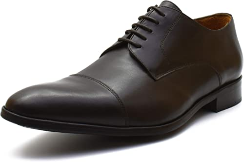 DIXBERFIELD Chaussures de Ville Derby en en Cuir avec Lacets en Coton Cirés Ton sur Ton pour Homme - Dixberry  mieux acheter