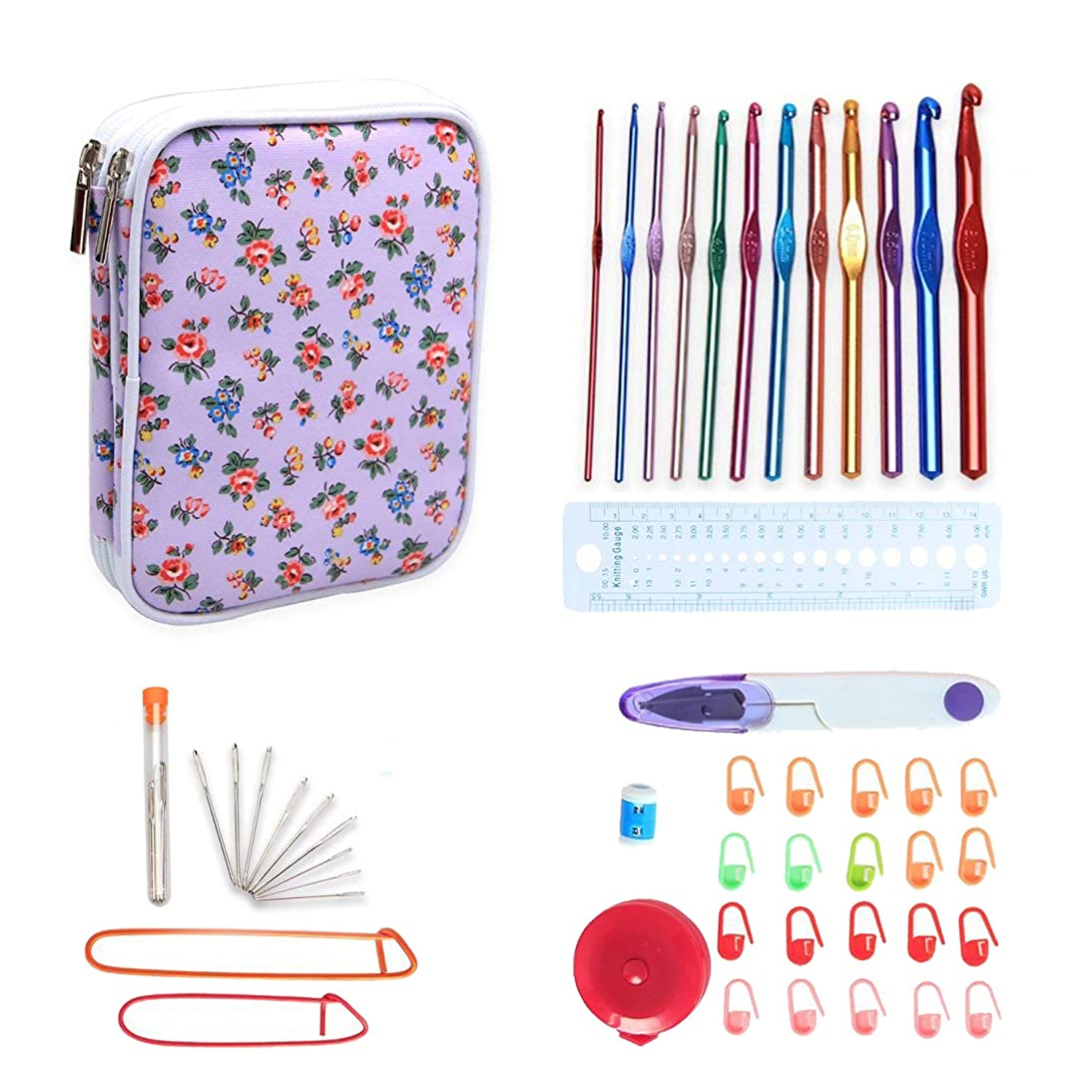 Teamoy Aluminum Crochet Hooks Set, Knitting Needle Kit, Organizer Carrying Case with 12pcs 2mm to 8mm Hooks and Complete Accessories, All in One Place and Easy to Carry, Purple Flowers