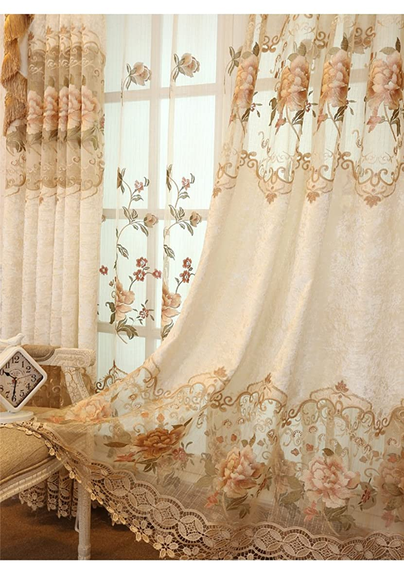 Delicate Embroidery Semi Cloth Curtain 84 inch Long for Living Room 84 inch long Grommet Top Floral Embroidered Beige Curtains Luxurious Royal Style Window Panels for Bedroom, 1 Panel, W39 x L84 inch