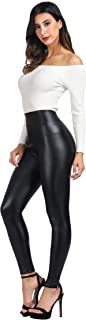 Women's High Waisted Faux Leather Leggings & Mesh Sport Yoga Leggings for Causal