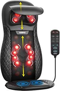 Back & Neck Massager, RENPHO Massage Seat, Shiatsu Massage Chair with Heat and Vibration for Neck, Back, Shoulders, Height...