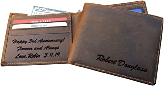 RFID Blocking Personalized Genuine Leather Men's Bifold Wallet Monogrammed with Custom Message Inside, Gifts for Boyfriend Husband Dads Anniversary Christmas Graduation