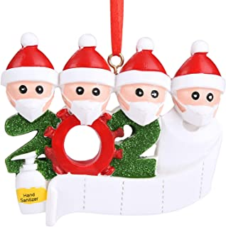 Best 2020 Quarantine Survivor Ornaments Cabepow Personalized Christmas Ornament Family Members of Gifts for Grandkids Children Girls Boys Co-Workers Friends (Family of 4) Review