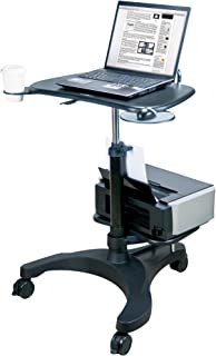 Aidata Ergonomic Sit-Stand Mobile Laptop Cart Work Station with Printer Shelf (Model: LPD009P)