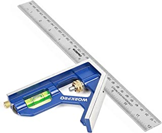 Sponsored Ad – WORKPRO Combination Square 12Inch/300mm, Engineers Set Square, Stainless Steel Angle Ruler, Adjustable Carp...