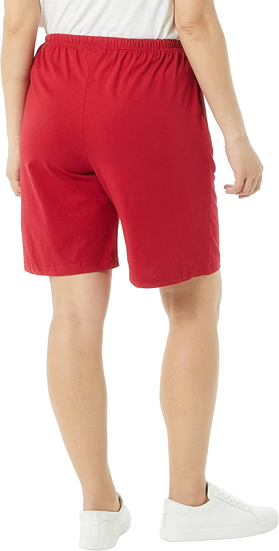 AmeriMark Women's Cotton Shorts - Elastic Waist Lightweight Casual Summer Shorts