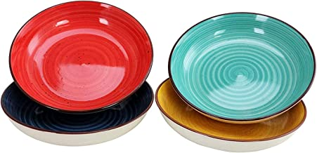 Gibson Home Color Speckle 4 Piece 8.25 Inch Multi Color Stoneware Salad Serving Bowl Dish Set, Blue, Yellow, Red, and Turq...