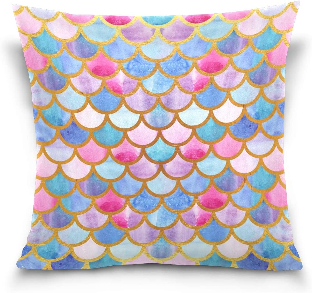 Glaphy Colorful Mermaid Scales Throw Pillowcas free shipping Soft Cover Ranking TOP10 Pillow
