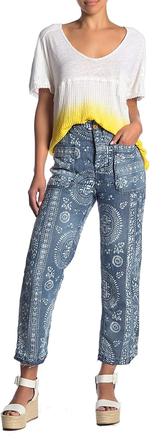 Free People, Island Vibes Discharge Trousers, Island Blue, Size 25