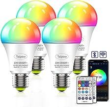 Taipow Alexa WiFi Smart Bulb E27 ، RGB Dimmable ، لمبة اضاءة دافئة ، 10W ، 800LM ، APP + التحكم الصوتي + التحكم ، مناسب لـ...