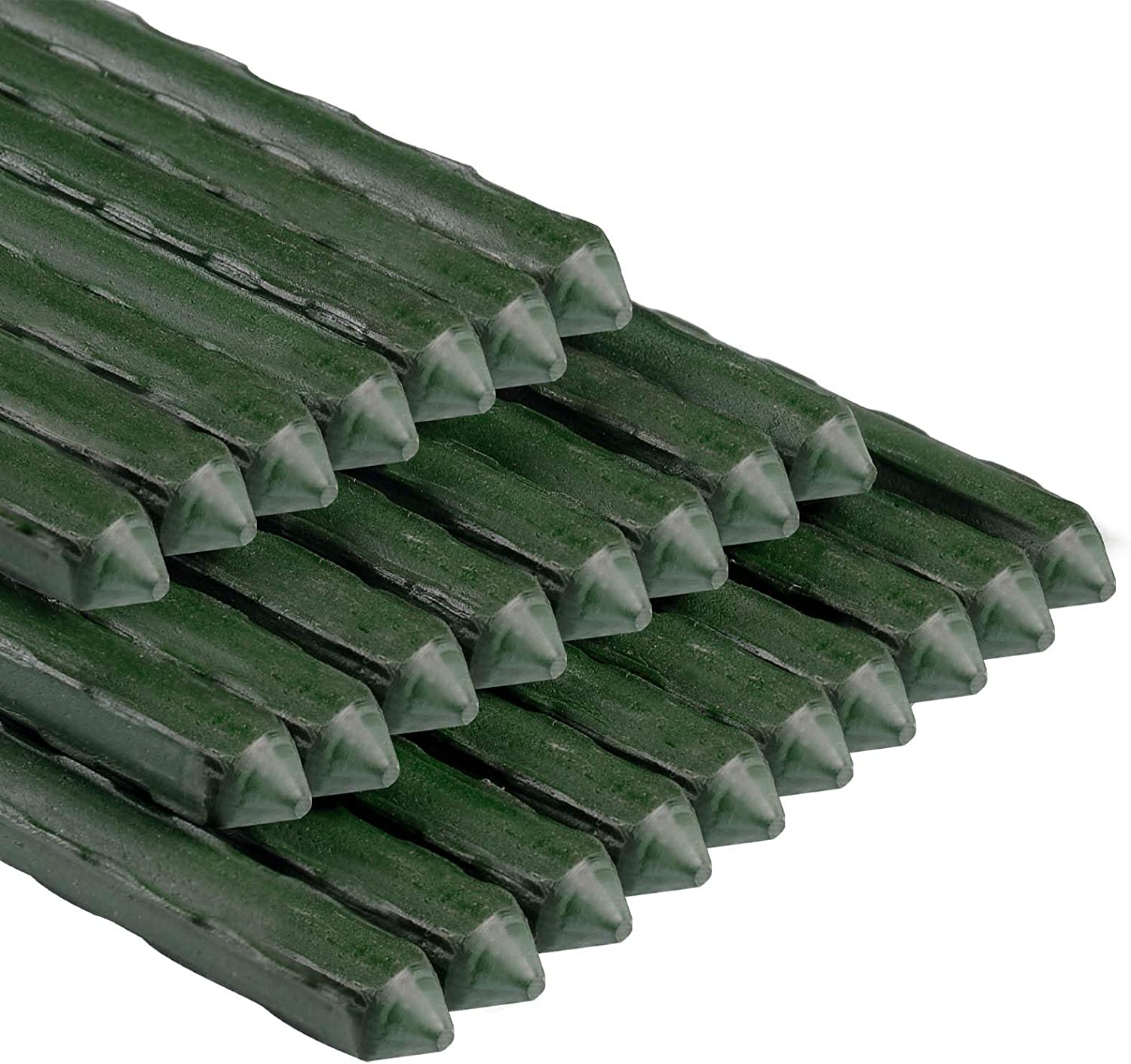 N/P Garden Stakes 60 Inches Plastic Coated Steel Plant Stakes for Tomato, Cucumber, Bean, Pack of 25