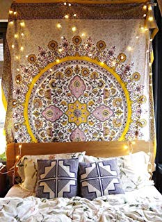 """Sketched Floral Medallion Tapestry Gold Indian Headboard Wall Hanging Home Decor,60""""x 80"""",Twin Size"""