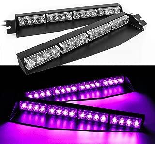 32W LED Lightbar Visor Light Windshield Emergency Strobe Split Mount Deck Dash Lamp (Purple)